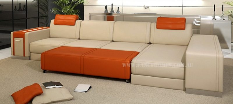 Fancy Homes Donata-B chaise leather sofa in beige and orange leather