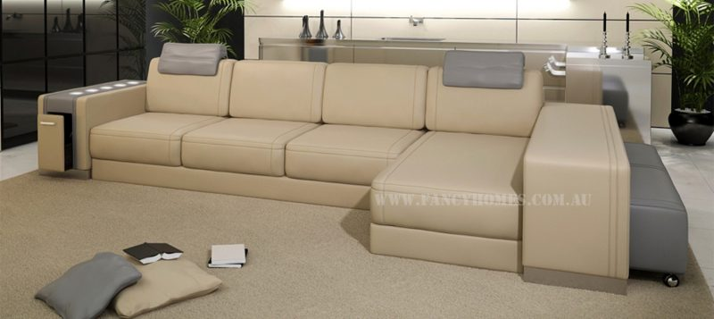 Fancy Homes Donata-B chaise leather sofa in beige and grey leather