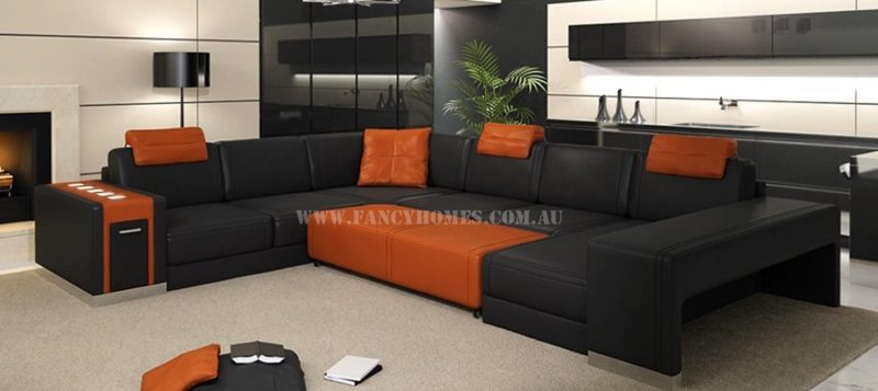 Fancy Homes Donata modular leather sofa in black and orange leather