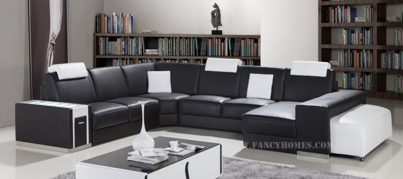 Fancy Homes Donata modular leather sofa in black and white