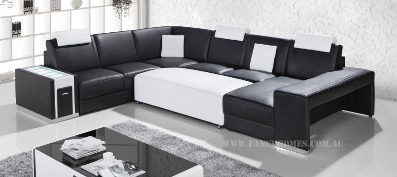 Fancy Homes Donata modular leather sofa black and white