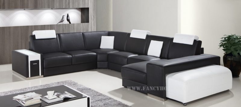 Fancy Homes Donata modular leather sofa in black and white leather