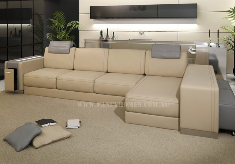 Fancy Homes Donata-B chaise leather sofa in beige and grey leather features storage armrests, adjustable headrests, LED lighting system and removable ottoman
