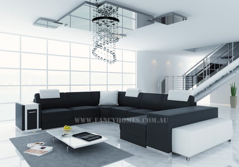 Fancy Homes Donata modular leather sofa in black and white leather featuring contemporary design and functionality. The Donata modular leather sofa is a versatile addition to any living room settings.