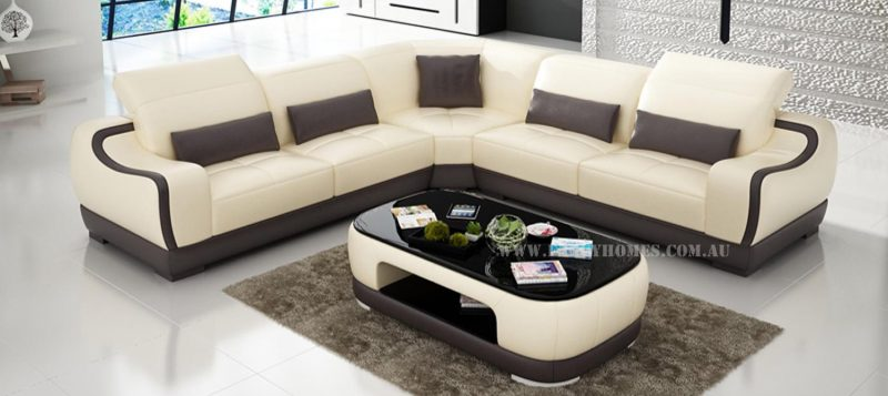 Fancy Homes Doreen-B corner leather sofa in beige and brown leather