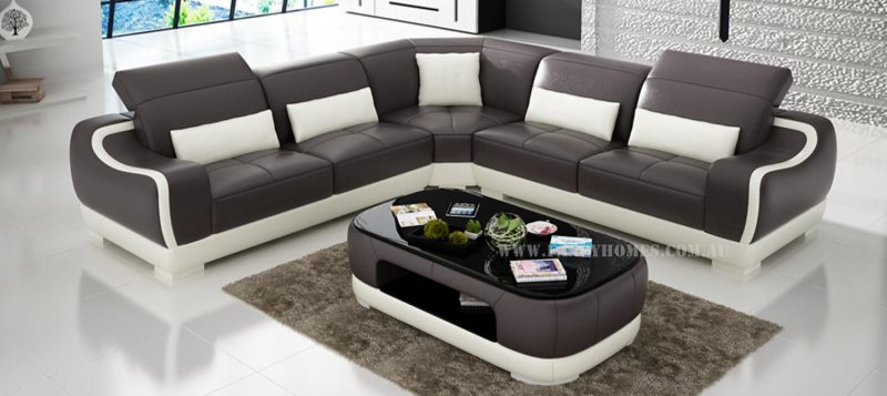 Fancy Homes Doreen-B corner leather sofa in brown and white leather