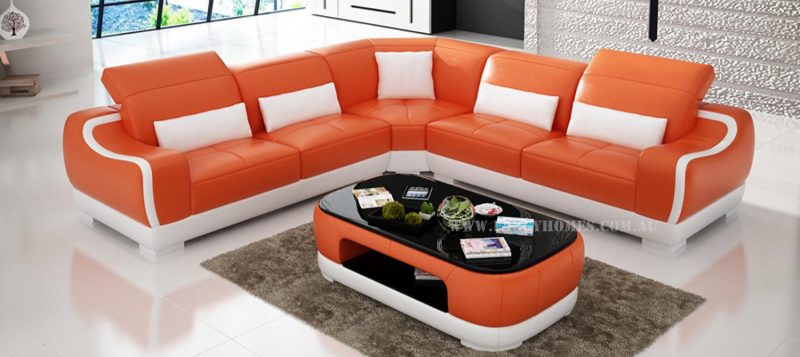 Fancy Homes Doreen-B corner leather sofa in orange and white leather
