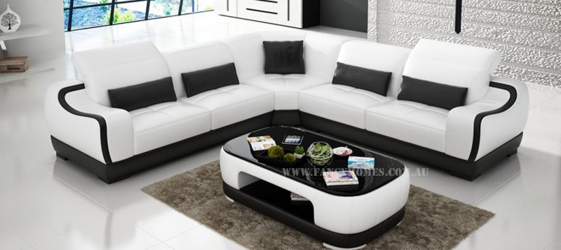 Fancy Homes Doreen-B corner leather sofa in white and black leather
