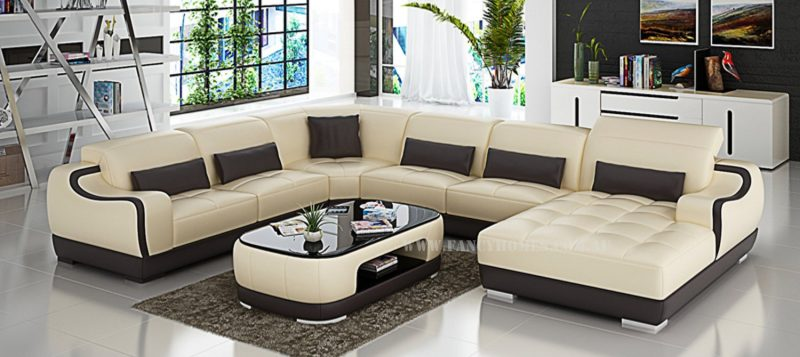 Fancy Homes Doreen modular leather sofa in beige and brown leather