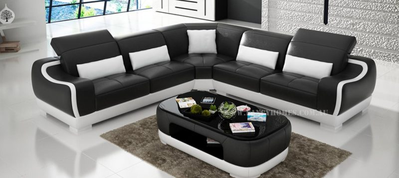 Fancy Homes Doreen-B corner leather sofa in black and white leather