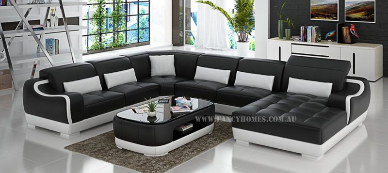 Fancy Homes Doreen modular leather sofa in black and white leather