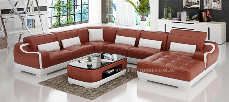 Fancy Homes Doreen modular leather sofa in maroon and white leather