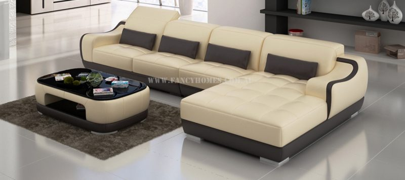 Fancy Homes Doreen-C chaise leather sofa in beige and brown leather