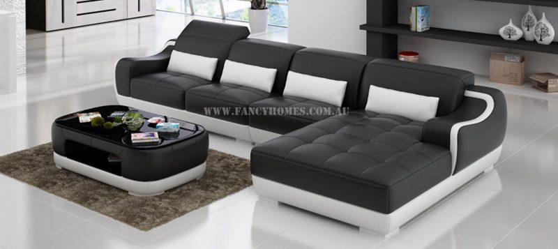 Fancy Homes Doreen-C chaise leather sofa in black and white leather