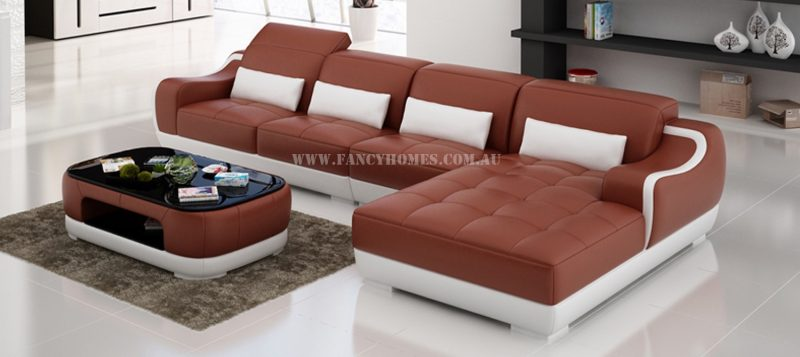 Fancy Homes Doreen-C chaise leather sofa in maroon and white leather