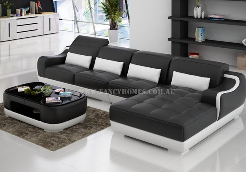 Fancy Homes Doreen-C chaise leather sofa in black and white leather with adjustable headrests and uniquely-designed armrests