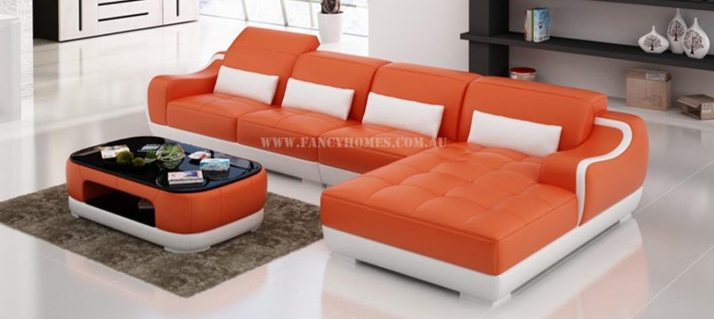 Fancy Homes Doreen-C chaise leather sofa in orange and white leather