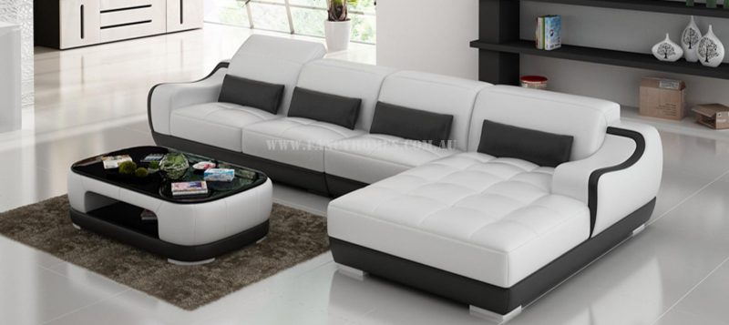 Fancy Homes Doreen-C chaise leather sofa in white and black leather