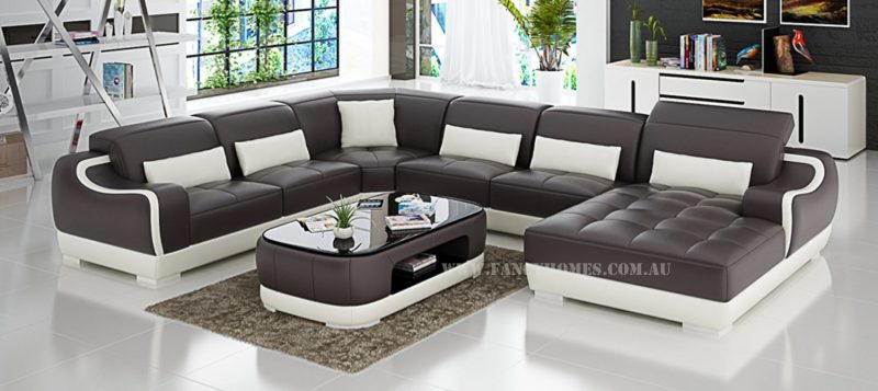 Fancy Homes Doreen modular leather sofa in brown and white leather