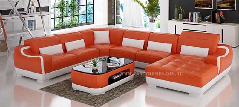 Fancy Homes Doreen modular leather sofa in orange and white leather