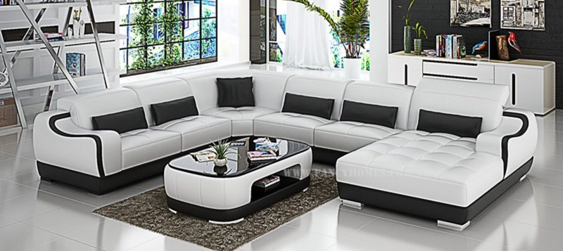 Fancy Homes Doreen modular leather sofa in white and black leather