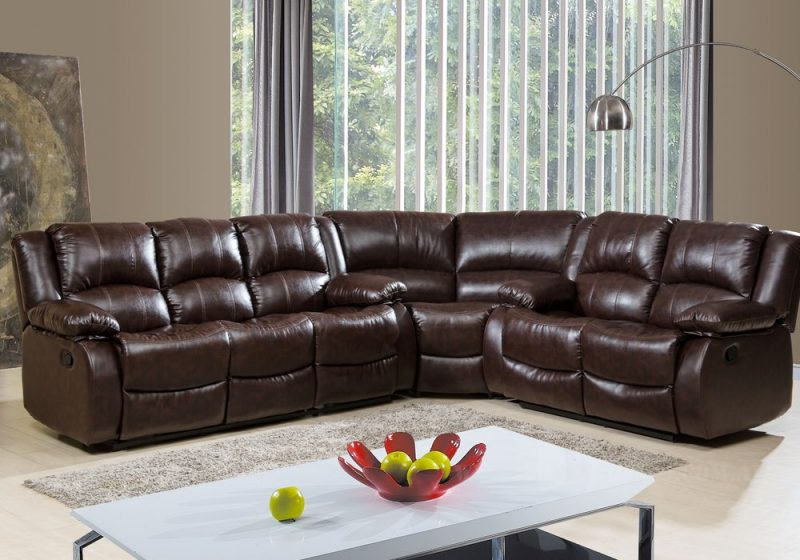 Fancy Homes Denver Recliner Leather Sofa in brown leather