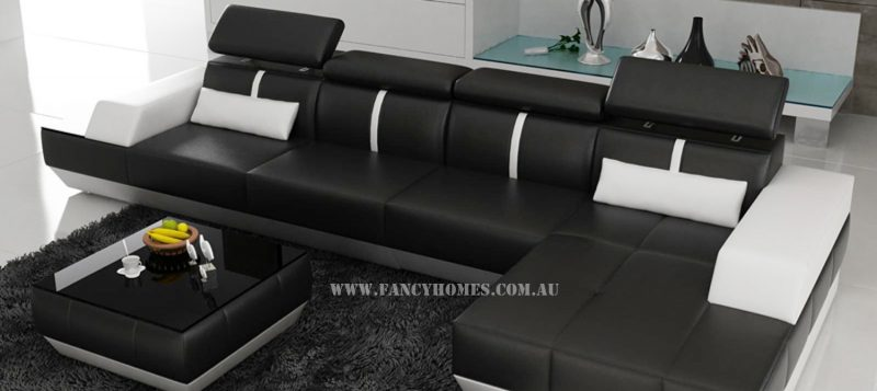 Fancy Homes Elite-B chaise leather sofa in black and white leather