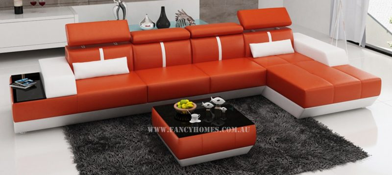 Fancy Homes Elite-B chaise leather sofa in orange and white leather featuring adjustable headrests and in-built side table.