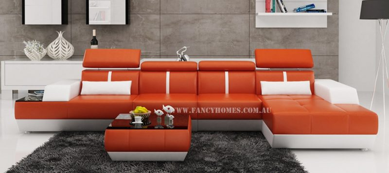 Fancy Homes elite-B chaise leather sofa in orange and white leather