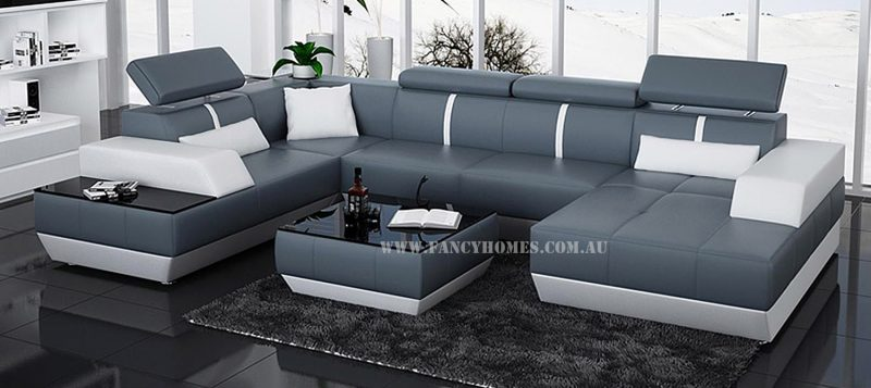 Fancy Homes Elite modular leather sofa in blue and white leather