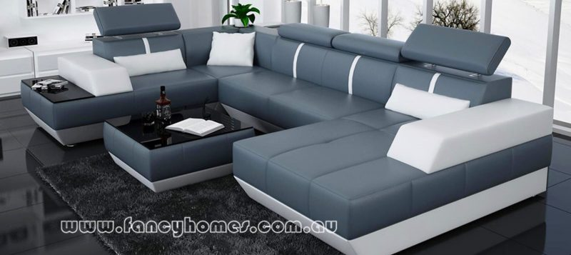 Fancy Homes Elite modular leather sofa in blue and white leather featuring adjustable headrests and built-in side table