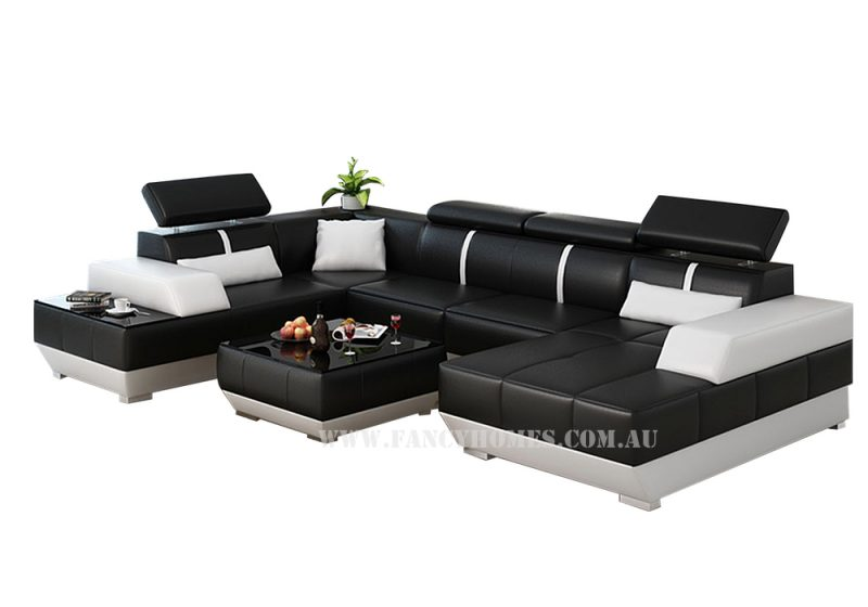 Fancy Homes Elite modular leather sofa in black and white leather
