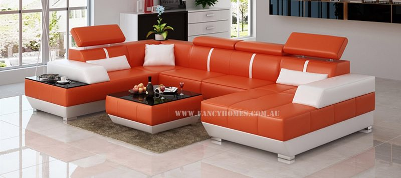 Fancy Homes Elite modular leather sofa in orange and white leather