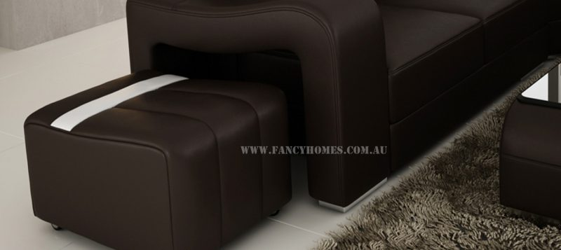The unique armrest and removable ottoman from Fancy Homes Erika modular leather sofa