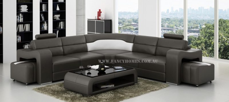 Fancy Homes Erika-B corner leather sofa in grey and white leather