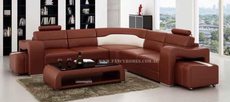 Fancy Homes Erika-B corner leather sofa in maroon and white leather
