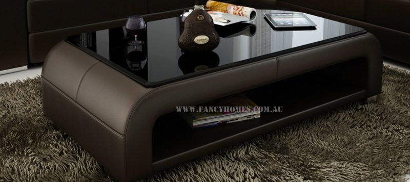 The matching coffee table of Erika-B corner leather sofa with tempered glass. Custom colour options to match with the lounge.