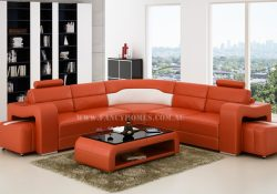 Fancy Homes Erika-B corner leather sofa in orange and white featured with removable ottomans