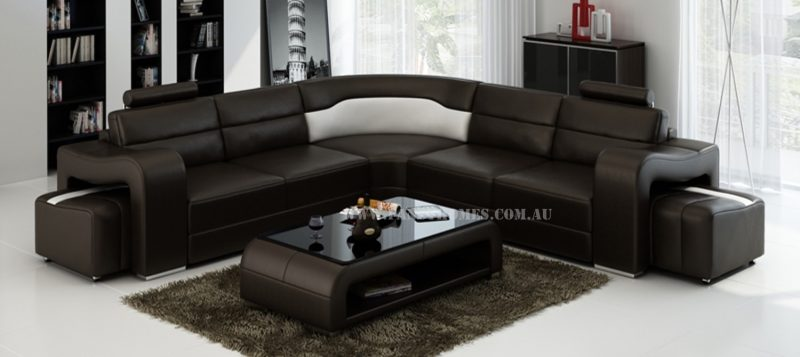 Fancy Homes Erika-B in brown and white leather with removable ottomans