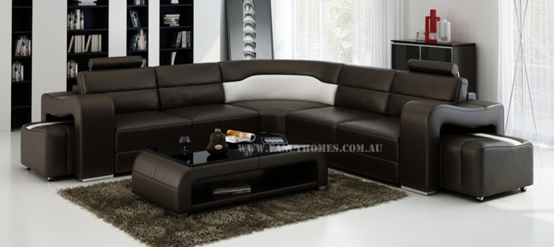Fancy Homes Erika-B corner leather sofa in brown and white leather