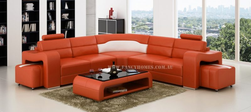 Fancy Homes Erika-B corner leather sofa in orange and white leather