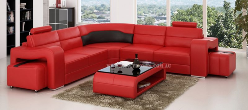 Fancy Homes Erika-B corner leather sofa in red and black leather