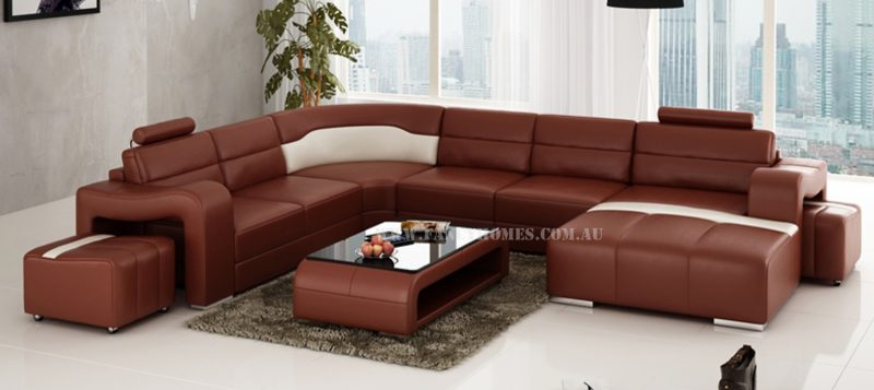Fancy Homes Erika modular leather sofa in maroon and white leather