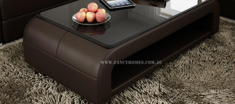 The matching coffee table of Erika modular leather sofa with tempered glass. Custom colour options to match with the lounge.