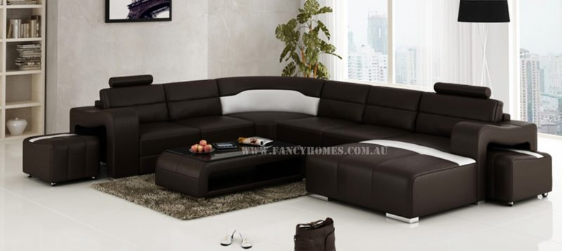 Fancy Homes Erika corner leather sofa in brown and white leather featuring uniquely designed armrests and removable ottomans.