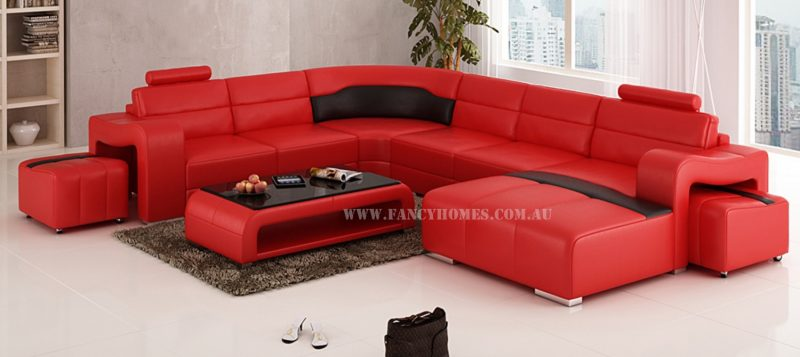 Fancy Homes Erika modular leather sofa in red and black leather