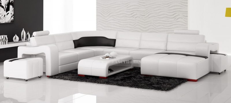 Fancy Homes Erika modular leather sofa in white and black leather