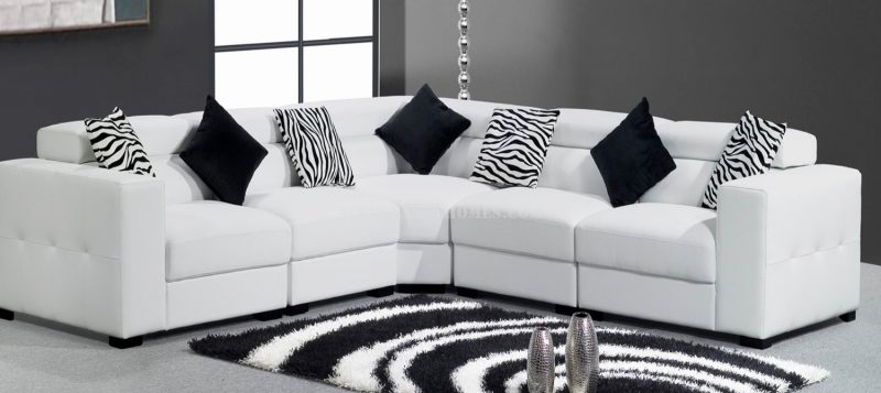 Fancy Homes Fiori corner leather sofa in white leather