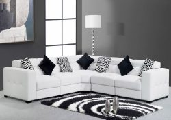 Fancy Homes Fiori corner leather sofa in pure white leather features streamlined design and adjustable headrests