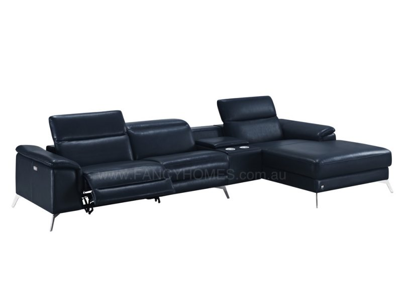 Fancy Homes Frisa recliner chaise leather sofa in black leather